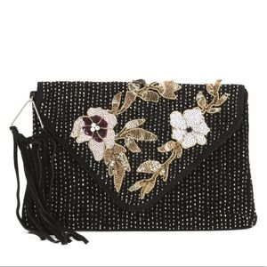 Sam Edelman Suede Carina Beaded Clutch